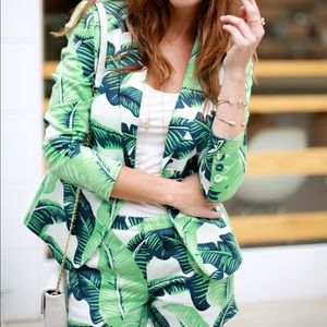 palm leaf tropical blazer
